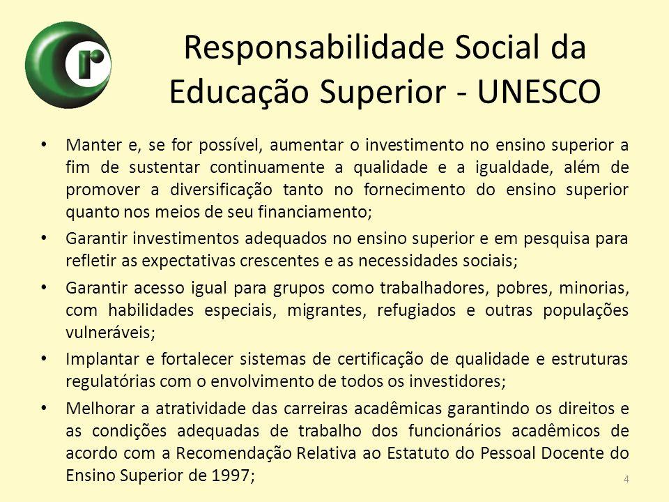 Responsabilidade Social da Educação Superior - UNESCO Manter e, se for possível, aumentar o investimento no ensino superior a fim de sustentar continu
