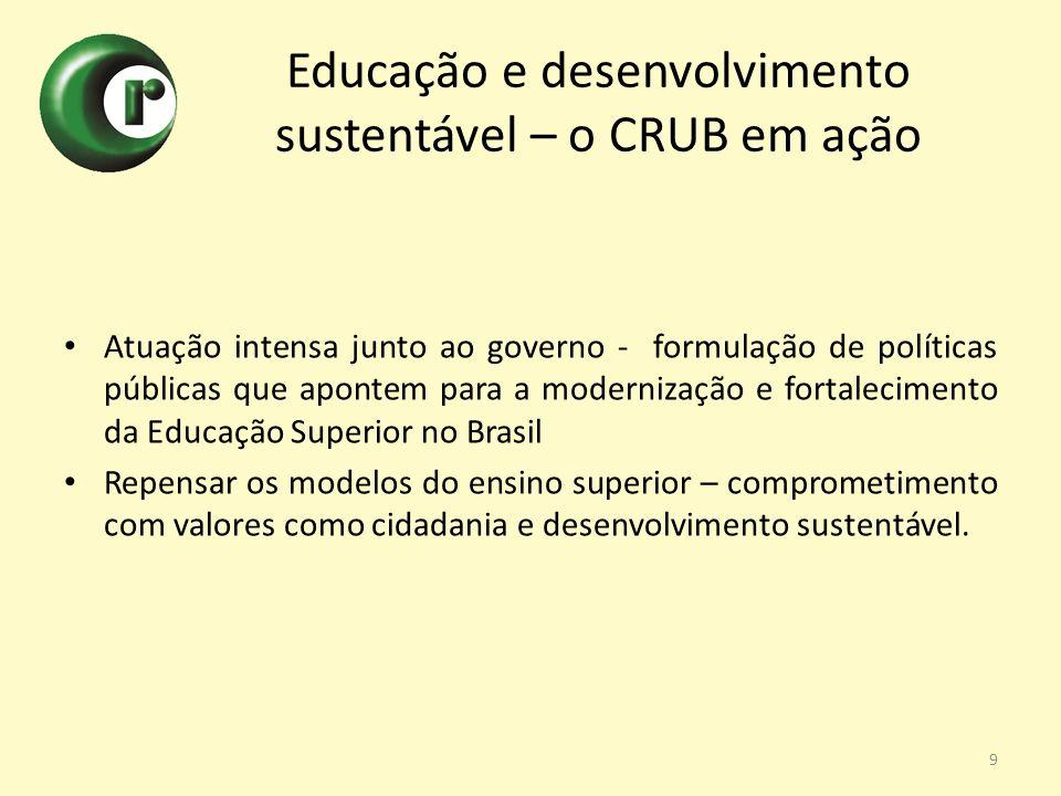 Educação e desenvolvimento sustentável – o CRUB em ação Atuação intensa junto ao governo - formulação de políticas públicas que apontem para a moderni