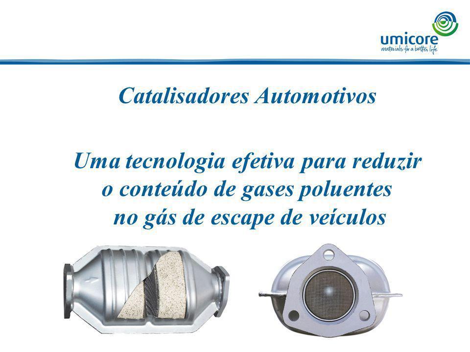Catalisadores Automotivos Uma tecnologia efetiva para reduzir o conteúdo de gases poluentes no gás de escape de veículos