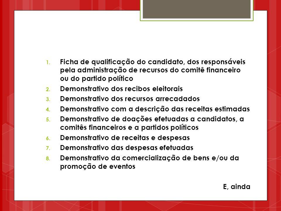 1. Ficha de qualificação do candidato, dos responsáveis pela administração de recursos do comitê financeiro ou do partido político 2. Demonstrativo do