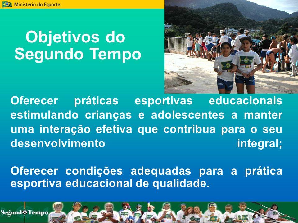 Objetivos do Segundo Tempo Oferecer práticas esportivas educacionais estimulando crianças e adolescentes a manter uma interação efetiva que contribua