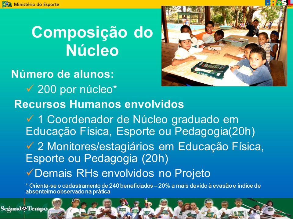 Composição do Núcleo Número de alunos: 200 por núcleo* Recursos Humanos envolvidos 1 Coordenador de Núcleo graduado em Educação Física, Esporte ou Ped