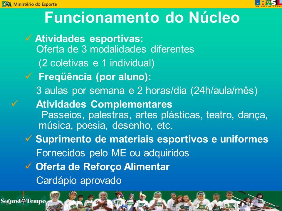 Funcionamento do Núcleo Atividades esportivas: Oferta de 3 modalidades diferentes (2 coletivas e 1 individual) Freqüência (por aluno): 3 aulas por sem