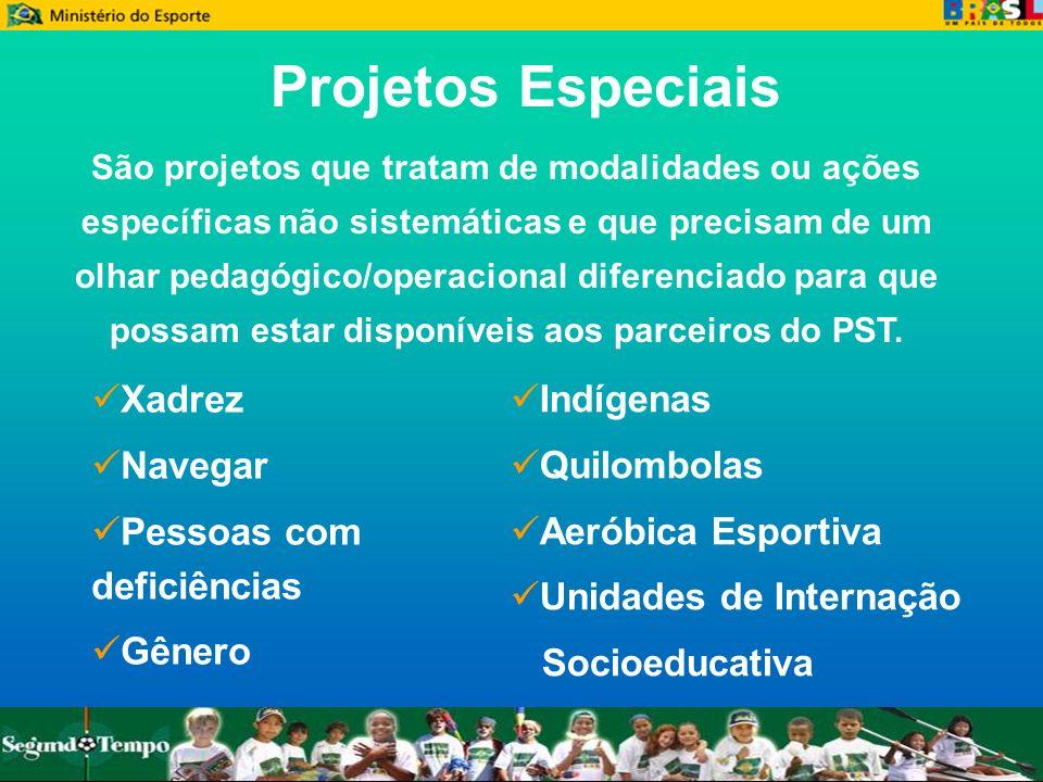 Projetos Especiais Xadrez Navegar Pessoas com deficiências Gênero São projetos que tratam de modalidades ou ações específicas não sistemáticas e que p
