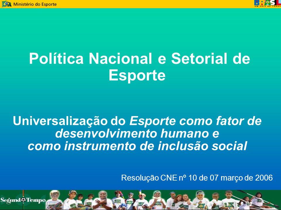 Política Nacional e Setorial de Esporte Universalização do Esporte como fator de desenvolvimento humano e como instrumento de inclusão social Resoluçã