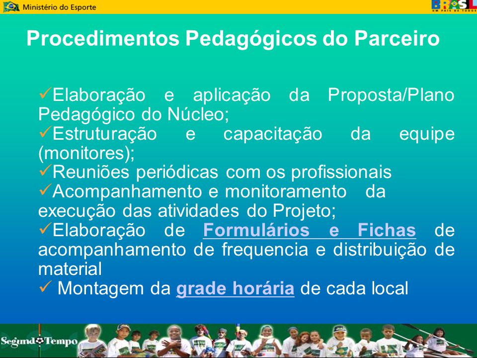 Elaboração e aplicação da Proposta/Plano Pedagógico do Núcleo; Elaboração e aplicação da Proposta/Plano Pedagógico do Núcleo; Estruturação e capacitaç