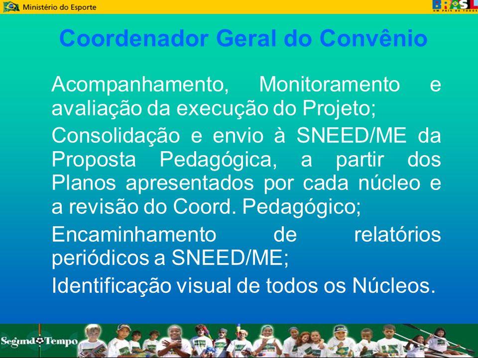Coordenador Geral do Convênio Acompanhamento, Monitoramento e avaliação da execução do Projeto; Consolidação e envio à SNEED/ME da Proposta Pedagógica
