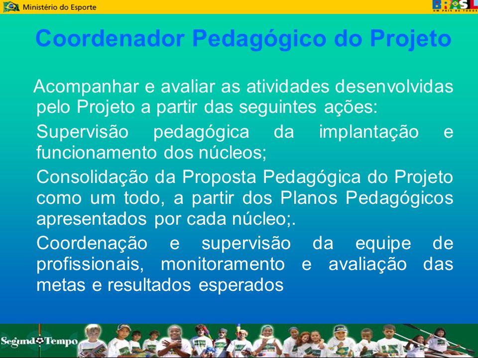 Coordenador Pedagógico do Projeto Acompanhar e avaliar as atividades desenvolvidas pelo Projeto a partir das seguintes ações: Supervisão pedagógica da