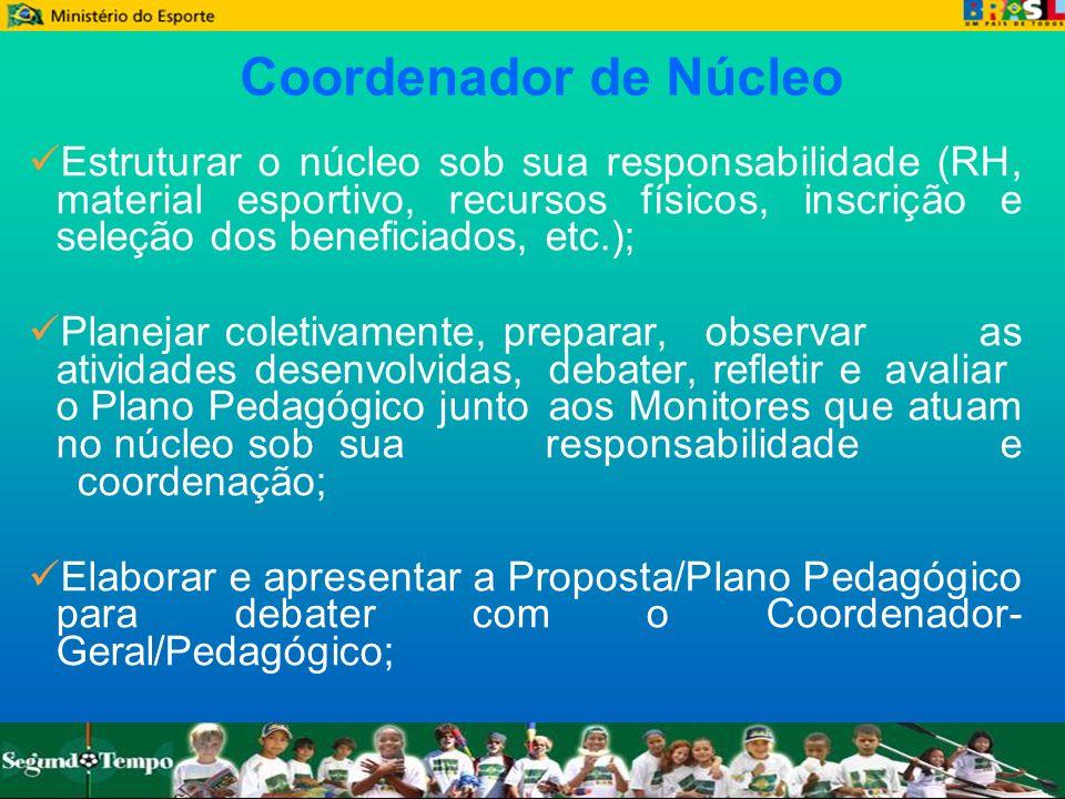 Coordenador de Núcleo Estruturar o núcleo sob sua responsabilidade (RH, material esportivo, recursos físicos, inscrição e seleção dos beneficiados, et