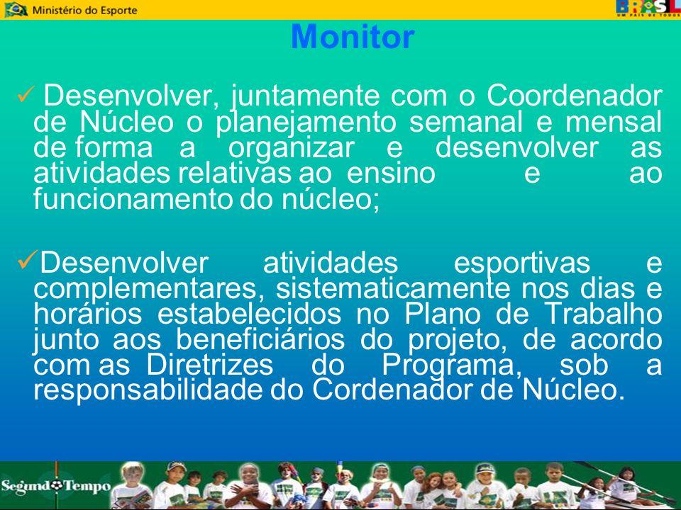 Monitor Desenvolver, juntamente com o Coordenador de Núcleo o planejamento semanal e mensal de forma a organizar e desenvolver as atividades relativas