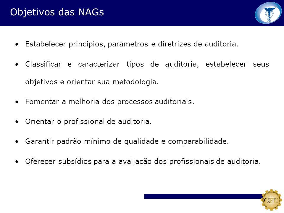 Objetivos das NAGs Estabelecer princípios, parâmetros e diretrizes de auditoria. Classificar e caracterizar tipos de auditoria, estabelecer seus objet