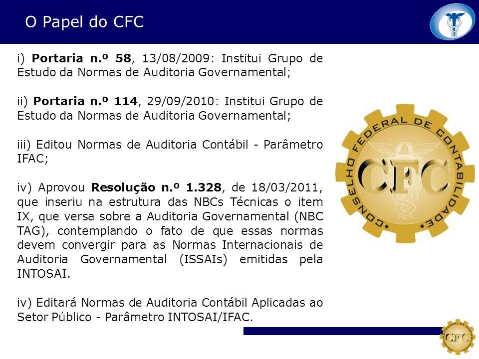 O Papel do CFC i) Portaria n.º 58, 13/08/2009: Institui Grupo de Estudo da Normas de Auditoria Governamental; ii) Portaria n.º 114, 29/09/2010: Instit