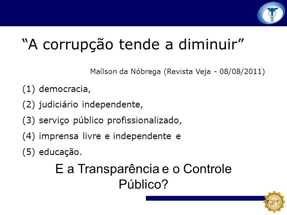 A corrupção tende a diminuir Maílson da Nóbrega (Revista Veja - 08/08/2011) (1) democracia, (2) judiciário independente, (3) serviço público profissio