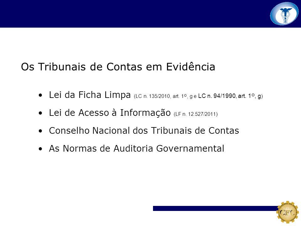 Os Tribunais de Contas em Evidência Lei da Ficha Limpa (LC n. 135/2010, art. 1 º, g e LC n. 94/1990, art. 1 º, g ) Lei de Acesso à Informação (LF n. 1