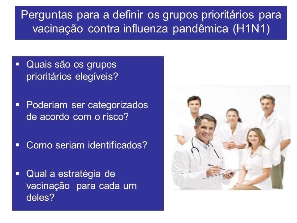 Perguntas para a definir os grupos prioritários para vacinação contra influenza pandêmica (H1N1) Quais são os grupos prioritários elegíveis? Poderiam