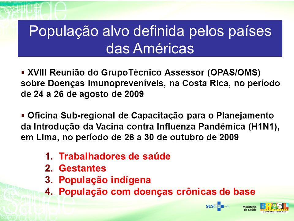 População alvo definida pelos países das Américas XVIII Reunião do GrupoTécnico Assessor (OPAS/OMS) sobre Doenças Imunopreveníveis, na Costa Rica, no