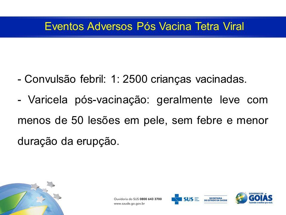 Eventos Adversos Pós Vacina Tetra Viral - Convulsão febril: 1: 2500 crianças vacinadas. - Varicela pós-vacinação: geralmente leve com menos de 50 lesõ