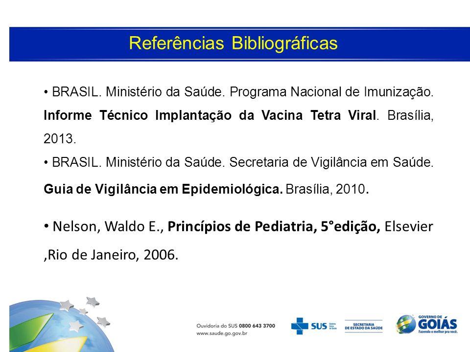 Referências Bibliográficas BRASIL. Ministério da Saúde. Programa Nacional de Imunização. Informe Técnico Implantação da Vacina Tetra Viral. Brasília,