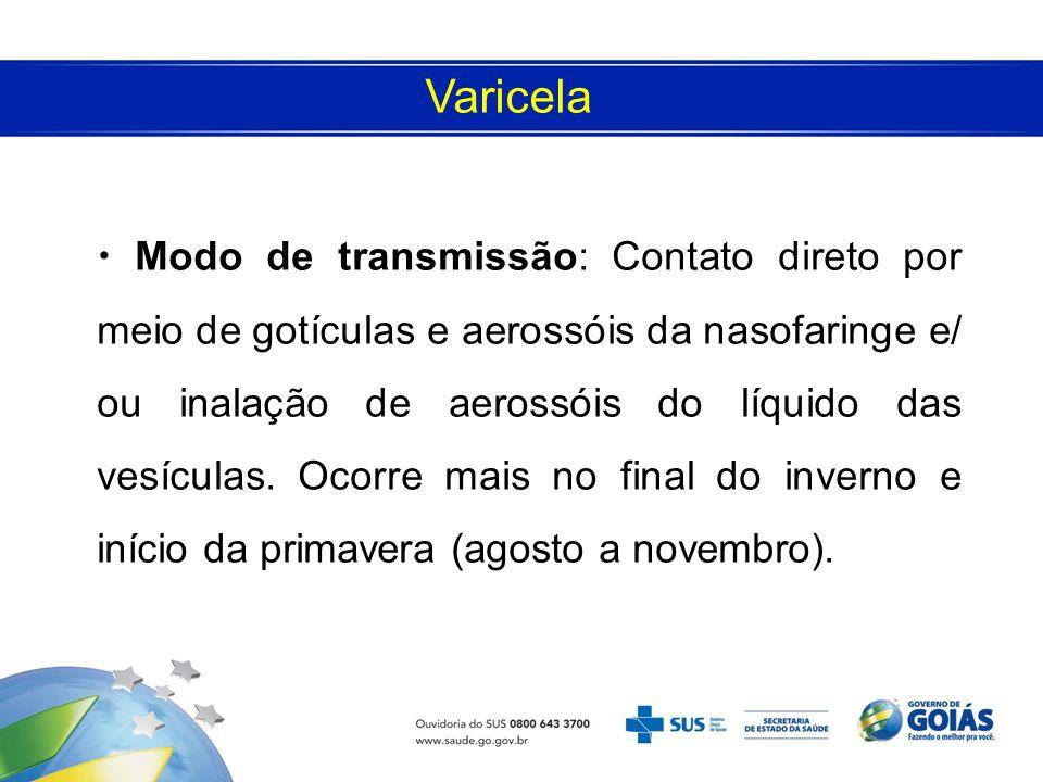 Modo de transmissão: Contato direto por meio de gotículas e aerossóis da nasofaringe e/ ou inalação de aerossóis do líquido das vesículas. Ocorre mais