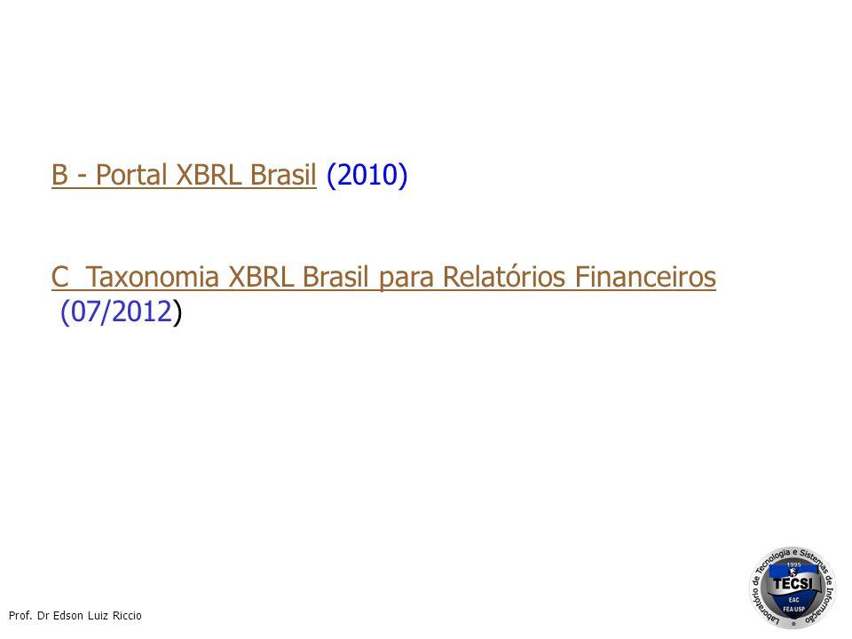 Prof. Dr Edson Luiz Riccio B - Portal XBRL BrasilB - Portal XBRL Brasil (2010) C Taxonomia XBRL Brasil para Relatórios Financeiros (07/2012)