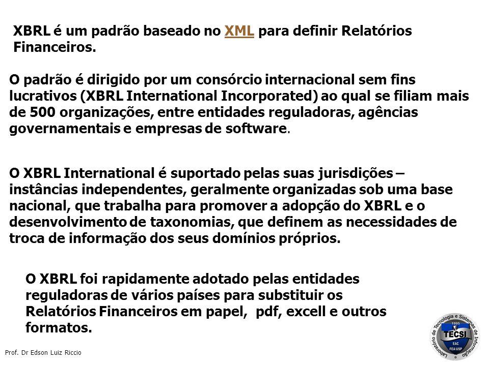 Prof. Dr Edson Luiz Riccio XBRL é um padrão baseado no XML para definir Relatórios Financeiros.XML O XBRL foi rapidamente adotado pelas entidades regu