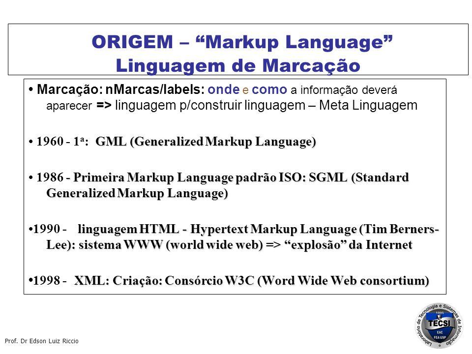 Prof. Dr Edson Luiz Riccio ORIGEM – Markup Language Linguagem de Marcação Marcação: nMarcas/labels: onde e como a informação deverá aparecer => lingua