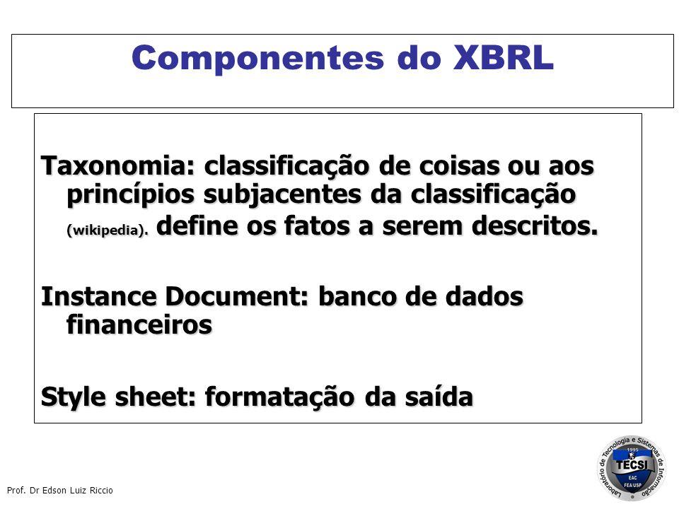 Prof. Dr Edson Luiz Riccio Componentes do XBRL Taxonomia: classificação de coisas ou aos princípios subjacentes da classificação (wikipedia). define o