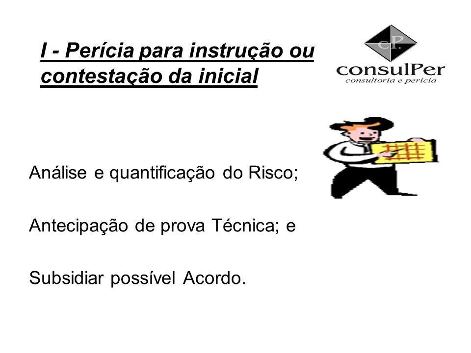 Análise e quantificação do Risco; Antecipação de prova Técnica; e Subsidiar possível Acordo. I - Perícia para instrução ou contestação da inicial