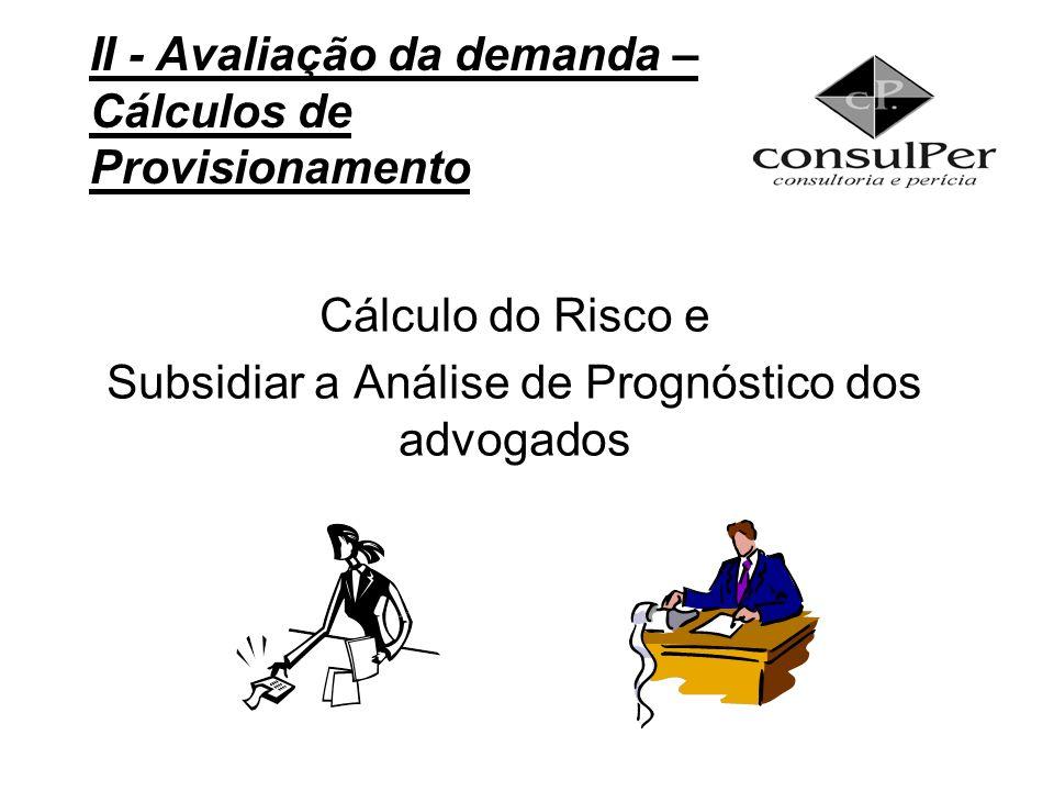 Cálculo do Risco e Subsidiar a Análise de Prognóstico dos advogados II - Avaliação da demanda – Cálculos de Provisionamento