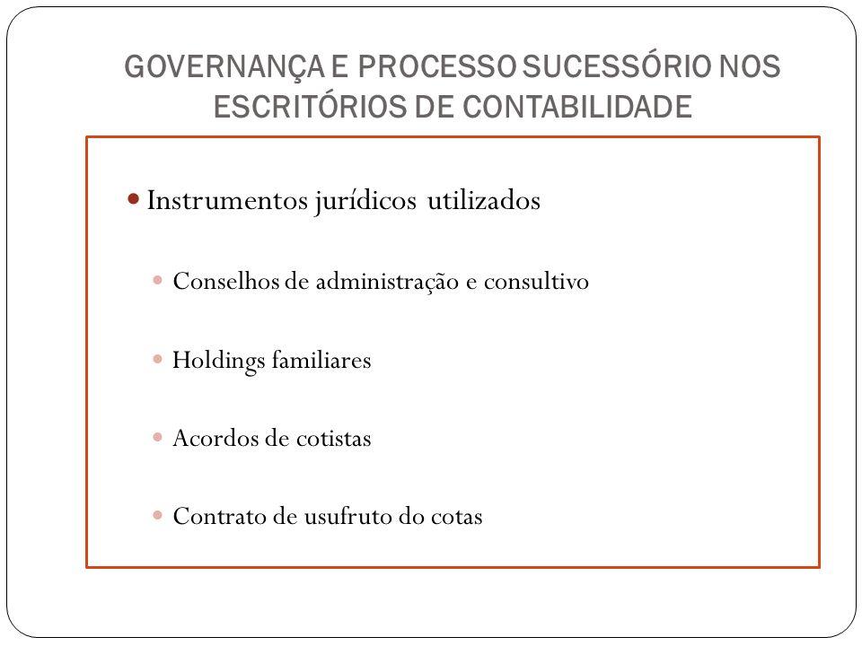 GOVERNANÇA E PROCESSO SUCESSÓRIO NOS ESCRITÓRIOS DE CONTABILIDADE Instrumentos jurídicos utilizados Conselhos de administração e consultivo Holdings f