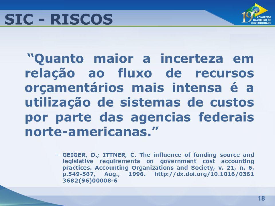 18 SIC - RISCOS Quanto maior a incerteza em relação ao fluxo de recursos orçamentários mais intensa é a utilização de sistemas de custos por parte das