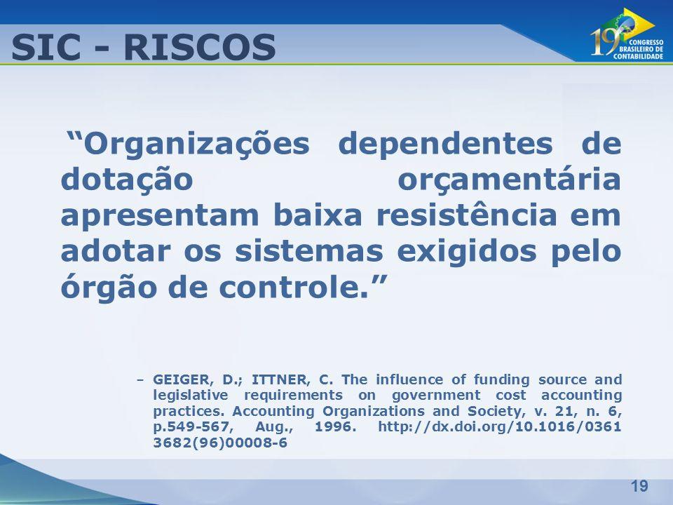 19 SIC - RISCOS Organizações dependentes de dotação orçamentária apresentam baixa resistência em adotar os sistemas exigidos pelo órgão de controle. –