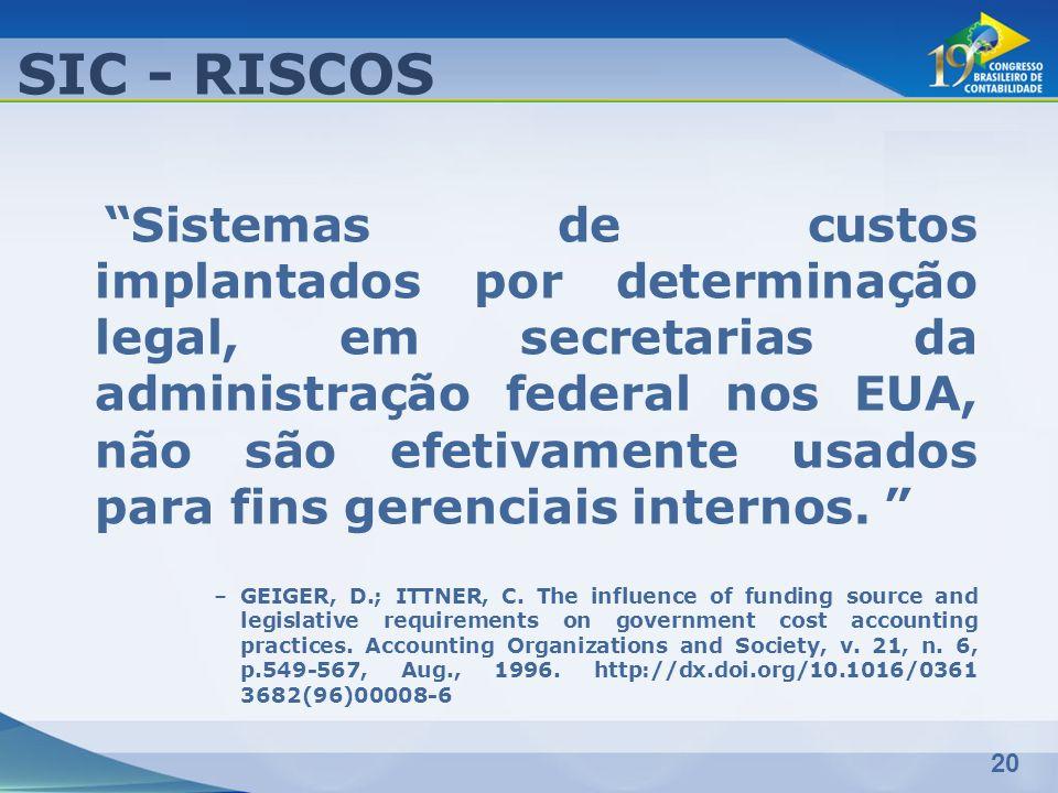 20 SIC - RISCOS Sistemas de custos implantados por determinação legal, em secretarias da administração federal nos EUA, não são efetivamente usados pa