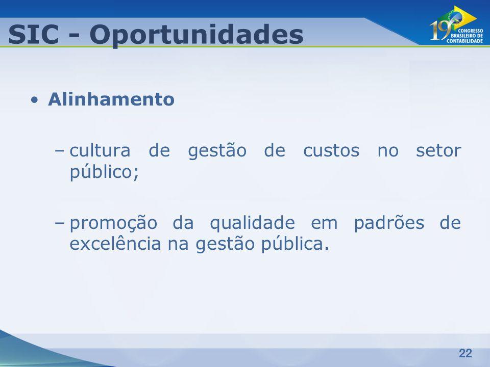 22 Alinhamento –cultura de gestão de custos no setor público; –promoção da qualidade em padrões de excelência na gestão pública. SIC - Oportunidades