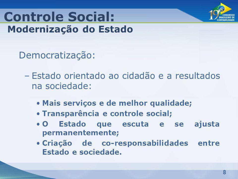 8 Democratização: –Estado orientado ao cidadão e a resultados na sociedade: Mais serviços e de melhor qualidade; Transparência e controle social; O Es