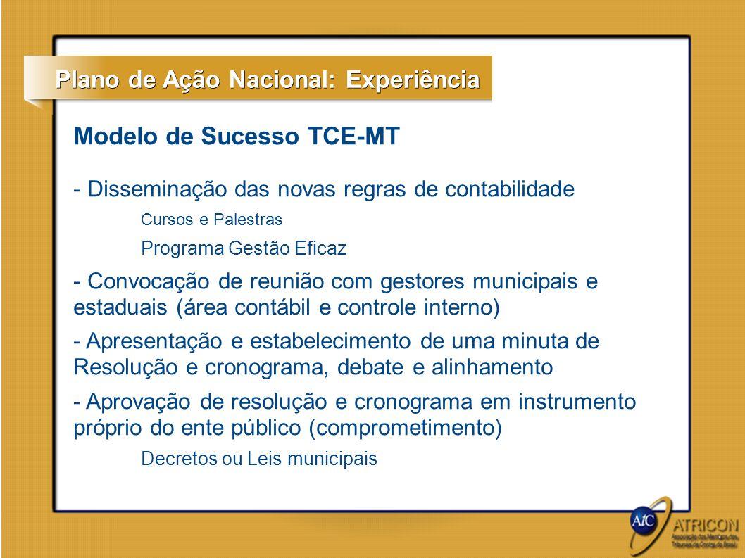 Modelo de Sucesso TCE-MT - Capacitação dos fiscalizados em cada item do cronograma / parceria com STN Curso em módulos Acompanhamento pelo TCE (ponto de controle nos relatórios de auditoria) - Preparação e adaptação dos sistemas técnicos do TCE para recebimento das prestações de contas de acordo com as novas regras de contabilidade Em Mato Grosso: 2013 (ambiente de homologação (testes) com os fiscalizados pilotos 2014 (integralmente para todos os fiscalizados) Reuniões periódicas com gestores públicos (área contábil) e prestadoras de serviços contábeis para acompanhamento do cronograma Plano de Ação Nacional: Experiência