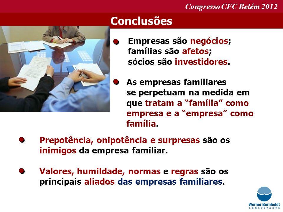 Congresso CFC Belém 2012 Conclusões Empresas são negócios; famílias são afetos; sócios são investidores. As empresas familiares se perpetuam na medida