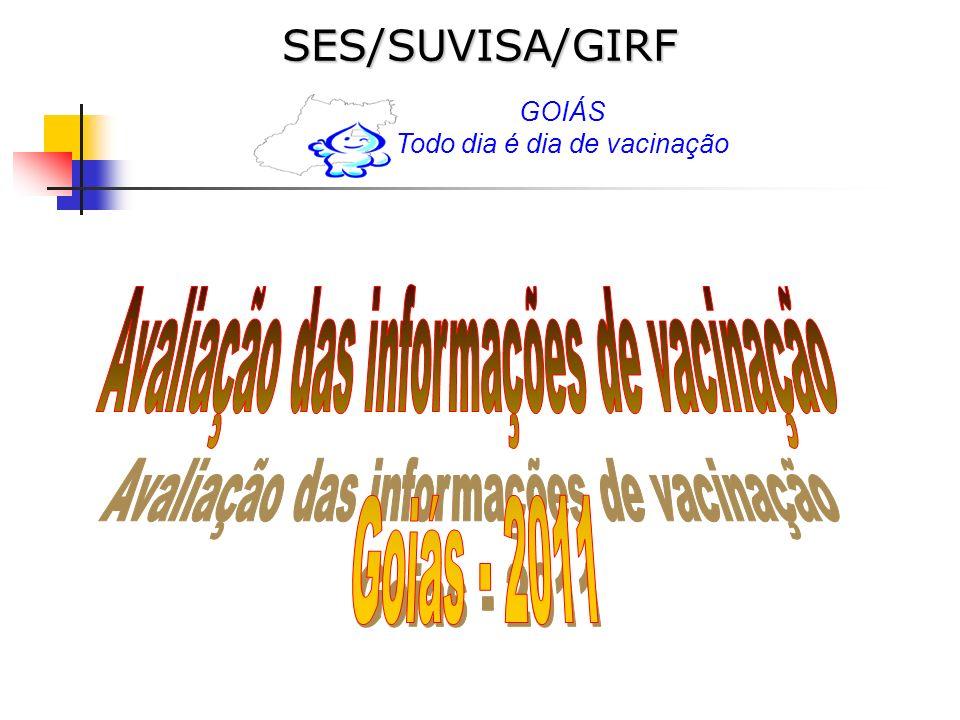 RSPopulaçãoDoses Aplicadas Resíduo s Municípios Central161.4294.511156.918Avelinópolis, Sto Antônio e Damolândia(1) Brazabrantes (2) Centro Sul72.2022.73869.464Varjão (0) Entorno Sul68.8523.65665.196 Entorno Norte28.1601.17626.984Damianópolis, Flores de Goiás, Planaltina e Posse (0); Guarani (1) Nordeste5.3061345.172Tá ruim Norte10.81659610.220Estrela do Norte e Trombas (0), Bonópolis (1); Formoso (2) Serra da Mesa10.1267319.395Alto Horizonte (0) São Patrício23.6021.86021.742Uruana (0); São Patrício (1); Nova América (2) Pirineus43.0443.18139.863 Rio Vermelho15.8918015.811Araguapaz, Aruana, Britânia, Faina, Goiás, Guaríta, Heitoraí, Itaberaí, Itapirapua, Itapuranga, Matricha, Mossamedes, Mozarlândia (0) e Nova Crixas (2) Oeste I8.5182138.305Diorama (0), Palestina; Moiporá (1); Amorinópolis, Israelândia (2) Oeste II8.7465898.157Buriti de GO, Córrego do Ouro, Palminópolis São João da Paraúna (2) Sudoeste I37.3043.16734.137 Sudoeste II18.16851817.650Sta Rita do Araguaia (0) Sul19.24599718.248Água Limpa, bom Jesus de Goiás (0) ; Aloândia (2) Estrada de Ferro22.7301.50821.222Davinópolis, Rio Quente (0); Cumari e Sta Cruz de GO (2) Total554.13925.655528.484CV: 9,26% Nº de Doses Aplicadas de Hepatite B na faixa etária de 20 a 24 anos.