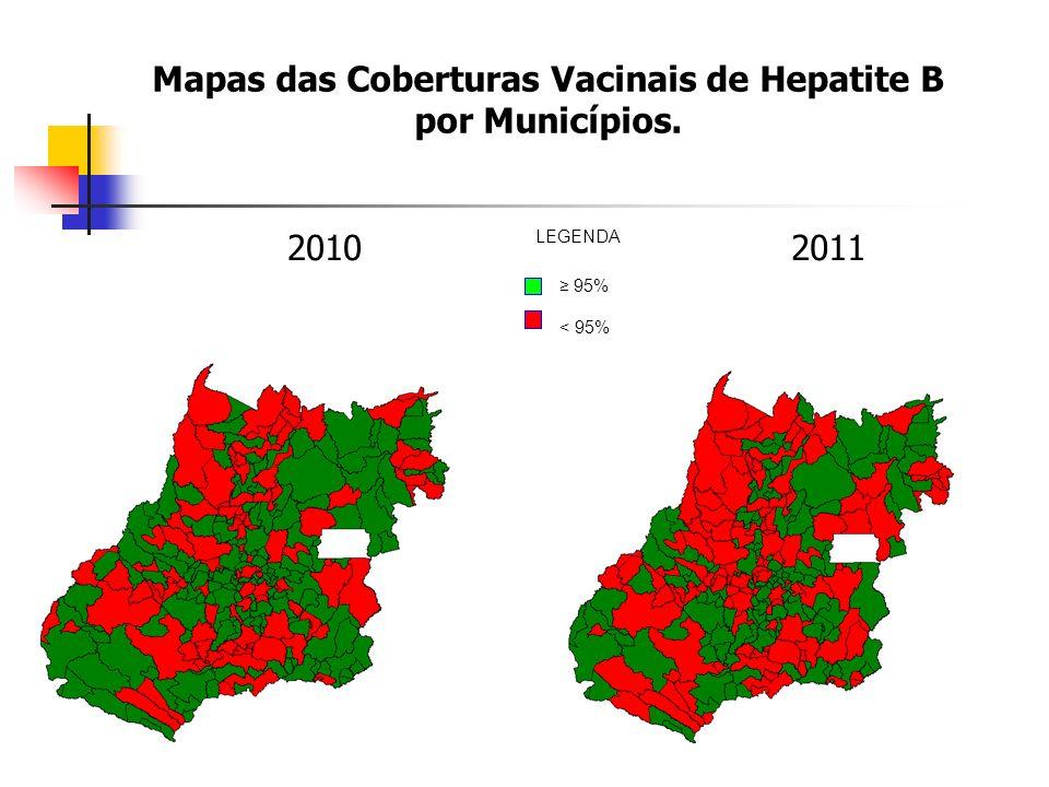 Mapas das Coberturas Vacinais de Hepatite B por Municípios. 20102011 95% < 95% LEGENDA
