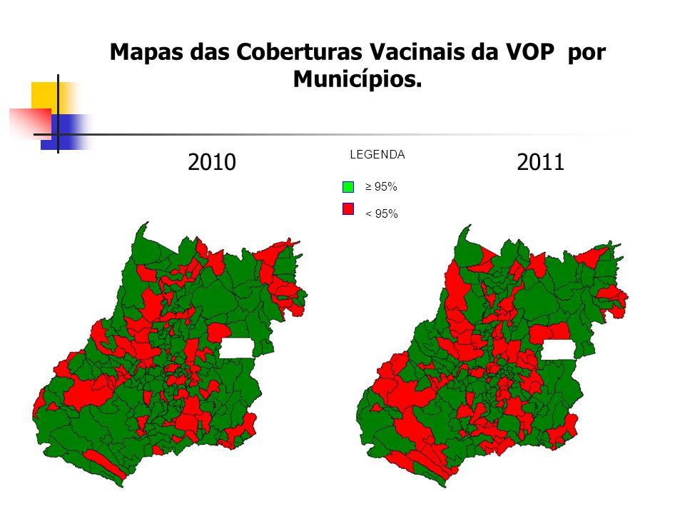Mapas das Coberturas Vacinais da VOP por Municípios. 20102011 95% < 95% LEGENDA