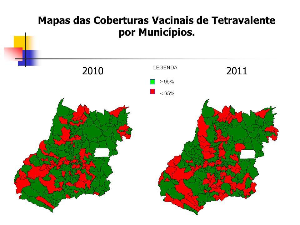 Mapas das Coberturas Vacinais de Tetravalente por Municípios. 20102011 95% < 95% LEGENDA