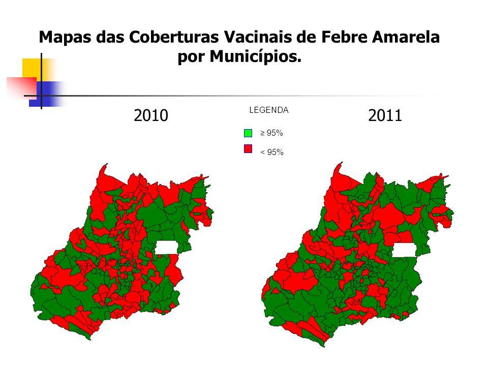Mapas das Coberturas Vacinais de Febre Amarela por Municípios. 20102011 95% < 95% LEGENDA