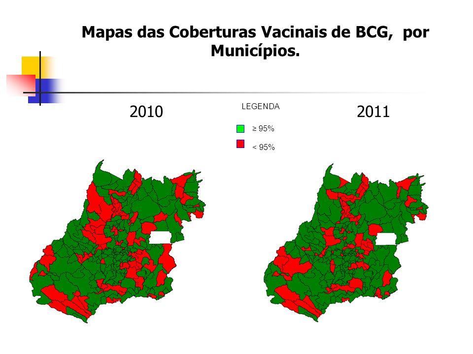 Mapas das Coberturas Vacinais de BCG, por Municípios. 20102011 95% < 95% LEGENDA