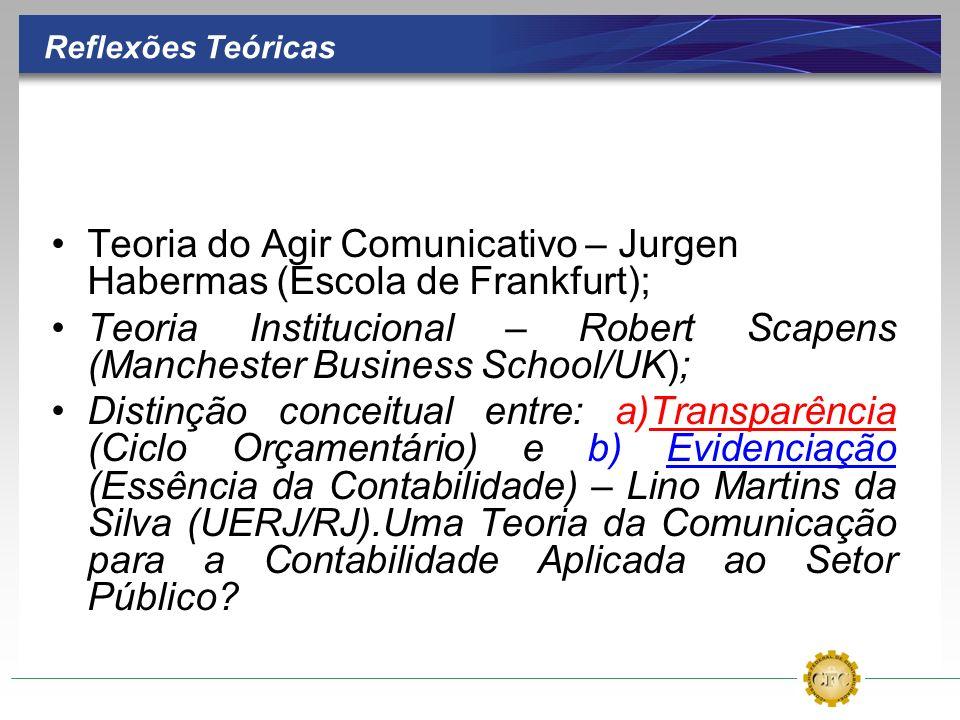 Reflexões Teóricas Teoria do Agir Comunicativo – Jurgen Habermas (Escola de Frankfurt); Teoria Institucional – Robert Scapens (Manchester Business School/UK); Distinção conceitual entre: a)Transparência (Ciclo Orçamentário) e b) Evidenciação (Essência da Contabilidade) – Lino Martins da Silva (UERJ/RJ).Uma Teoria da Comunicação para a Contabilidade Aplicada ao Setor Público?