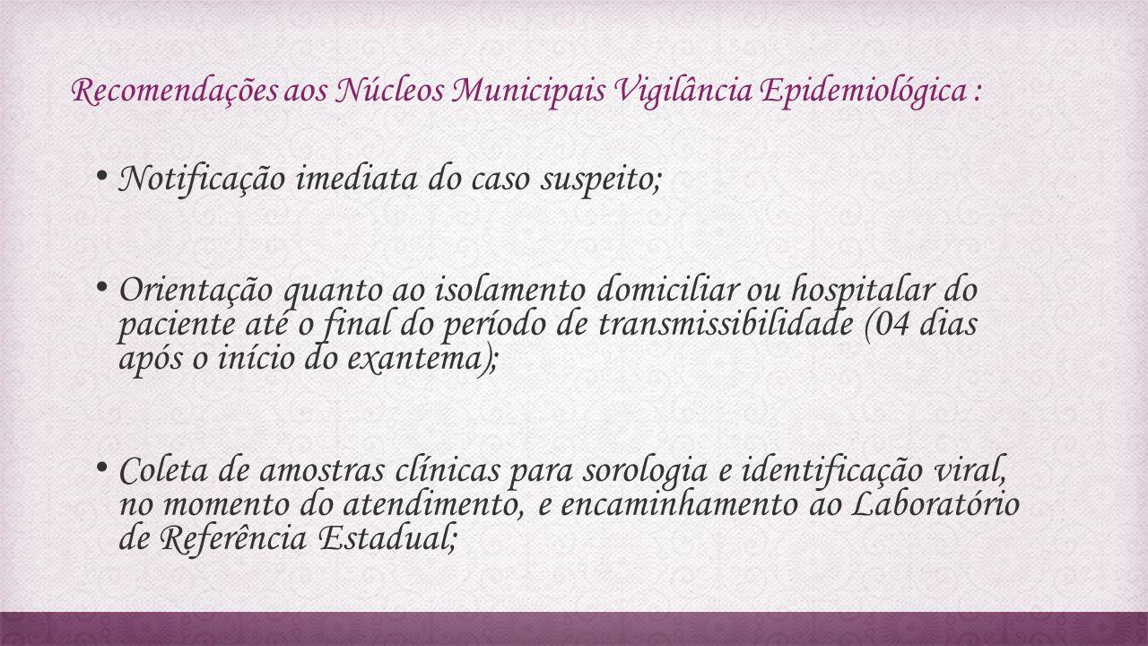 Recomendações aos Núcleos Municipais Vigilância Epidemiológica : Notificação imediata do caso suspeito; Orientação quanto ao isolamento domiciliar ou