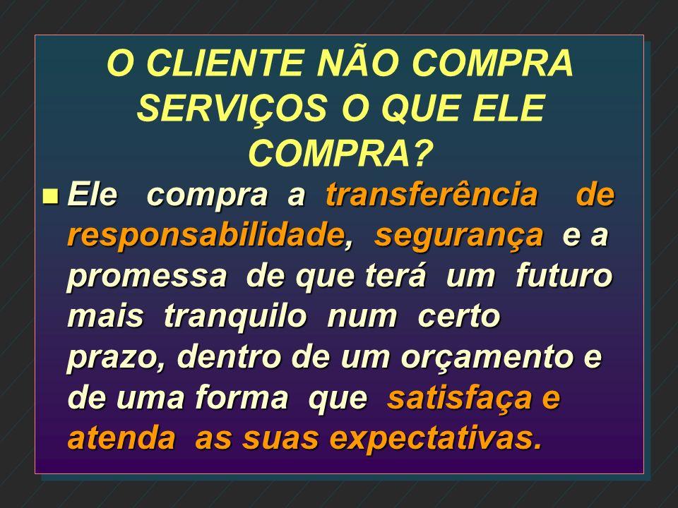 CARACTERÍSTICAS DA PRESTAÇÃO DE SERVIÇOS n Mercadorias são bens TANGÍVEIS já os serviços são INTANGÍVEIS; n Serviços são: CONHECIMENTO e HABILIDADES;