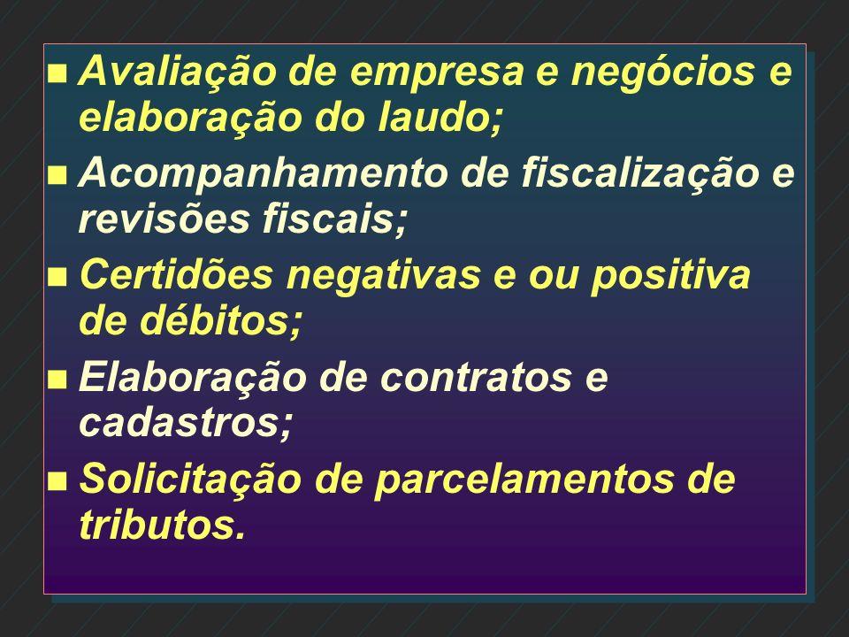 n n Consultoria Contábil e Tributária; n n Consultoria Financeira Empresarial; n n Elaboração de orçamentos e análise de viabilidade; n n Análise de B
