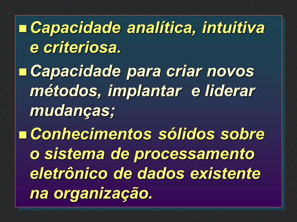 n Comprometimento com a organização; n Conhecimento interno da organização e de seus clientes; n Conhecimento técnico, experiência e capacidade profis