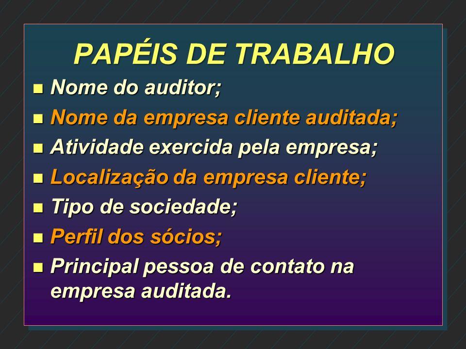 PAPÉIS DE TRABALHO n Podem ser elaborados em meio físico ou eletrônico; n Constituem documentos e registros dos fatos, informações e provas obtidos pe