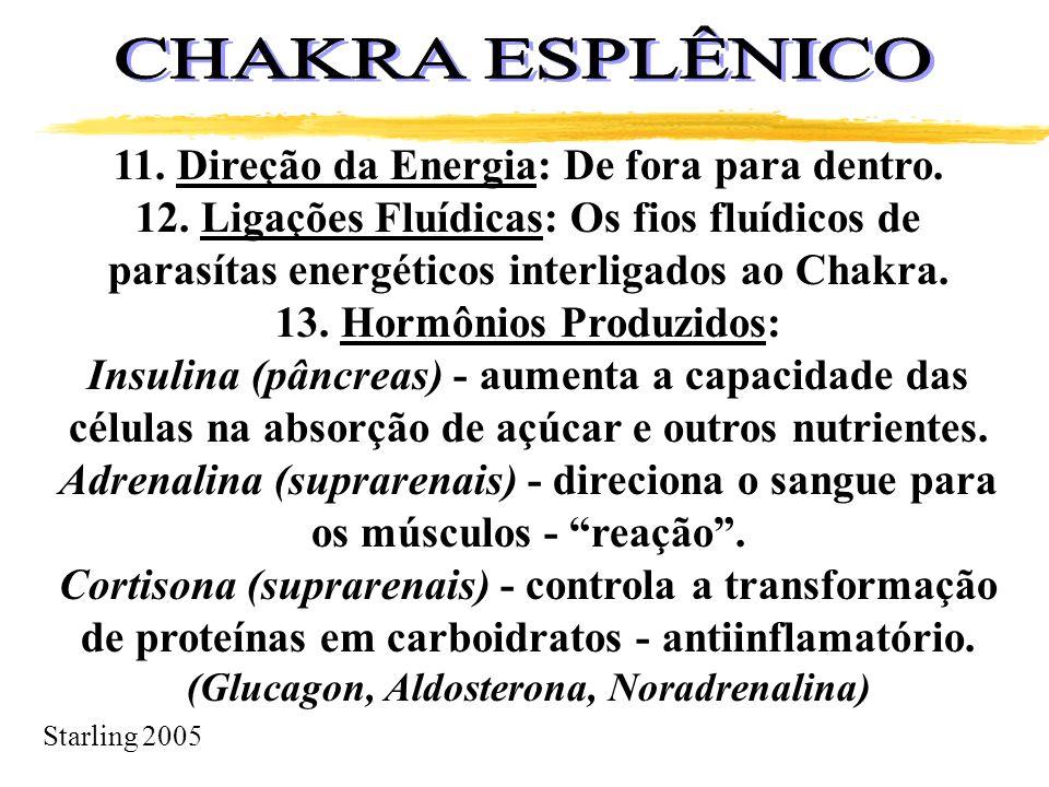 Starling 2005 11. Direção da Energia: De fora para dentro. 12. Ligações Fluídicas: Os fios fluídicos de parasítas energéticos interligados ao Chakra.